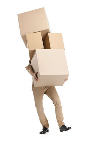 Man hardly carries the boxes, isolated, white background