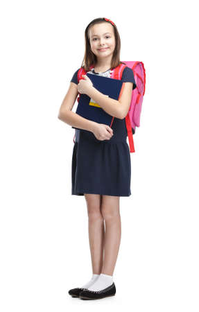 Schoolgirl with the briefcase, isolated, white background