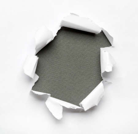 Grey circle shape breakthrough paper hole with white background