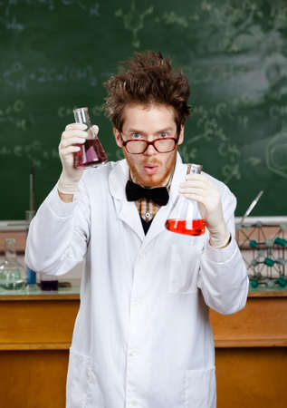 Crazy scientist is in his laboratory