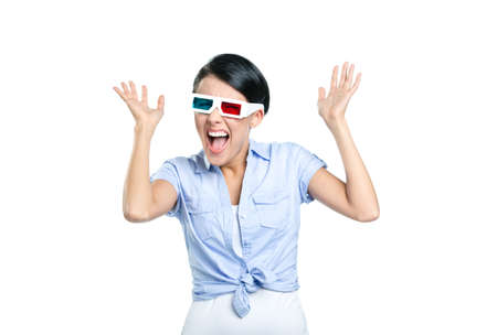 Excited girl with hands up in 3D glasses, isolated on white