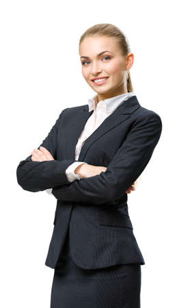 Half-length portrait of businesswoman with hands crossed, isolated on white. Concept of leadership and success