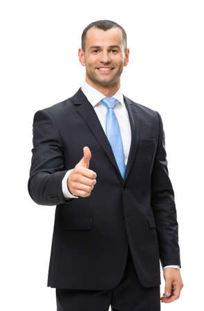 Half-length portrait of businessman thumbing up, isolated on white. Concept of leadership and success