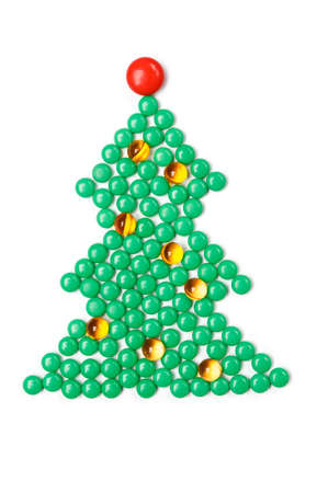 Fir tree of vitamins, isolated. Healthcare concept.