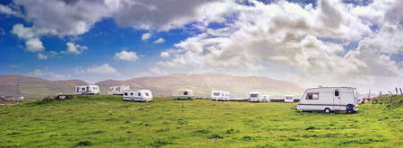 Photo pour Panoramic view with white campers in a  resort of south west Ireland - image libre de droit