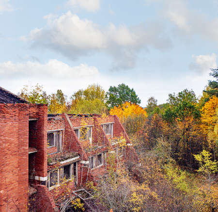 Totally ruined red brick house in autumn..の素材 [FY310137122148]