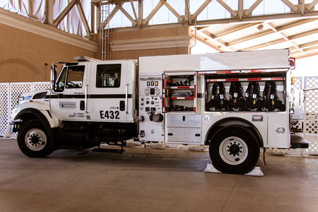 White fire truck on display at the San Diego County Fair, June 7, 2014 - Del Mar, CA. Photo taken on June 7, 2014.
