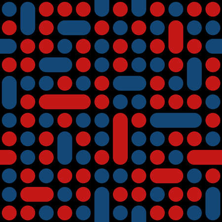 Illustration pour circles and rectangles with rounded corners. red and blue geometric shapes on black background. vector seamless pattern. fabric swatch. wrapping paper. repetitive design element for textile, decor, apparel - image libre de droit