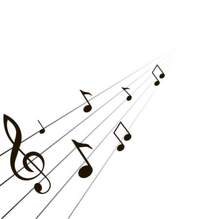 composition from music notes on a white background