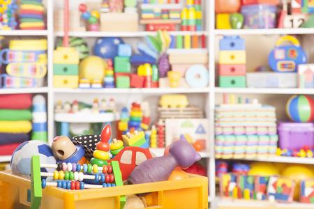 Foto de box with toys in room for children - Imagen libre de derechos