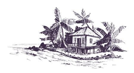 Illustration pour Tropical beach with palm trees and bungalow. Hand drawn sketch Vector illustration. - image libre de droit