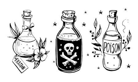 Illustration pour Bottles with potions. Poison and love potion. Hand drawn illustration converted to vector. - image libre de droit