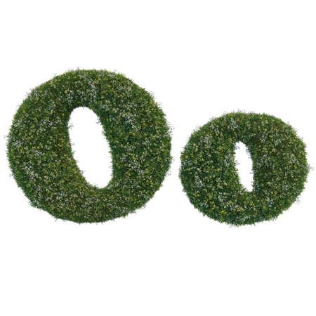 Foto de English O alphabet and letters of grass and flowers - Imagen libre de derechos