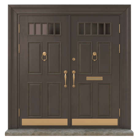 Photo pour Classic entrance doors for houses and mansions as a decoration of the entrance group with brass and gold fittings - image libre de droit