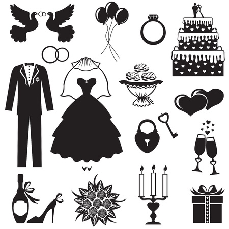 Set of silhouette images of romantic weddingのイラスト素材