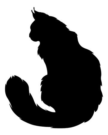 Ilustración de Vector illustrations of silhouette of black furry cat - Imagen libre de derechos