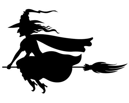 Vector illustrations of silhouette witch with hat and broom fly