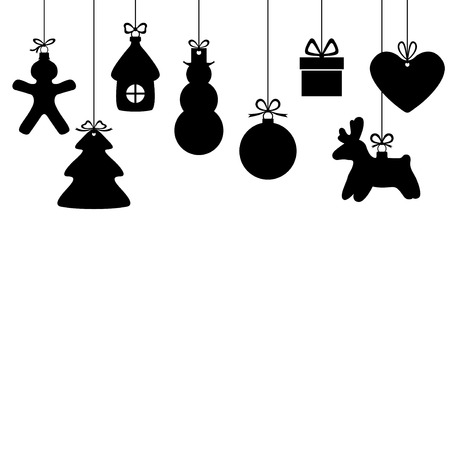 Hanging Christmas Ornaments Silhouette.Silhouette Christmas Ornaments Hanging With Ribbon Isolated