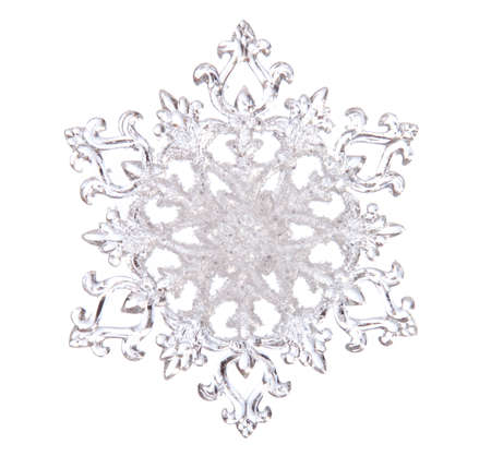 Snowflake shape, photo on the white background