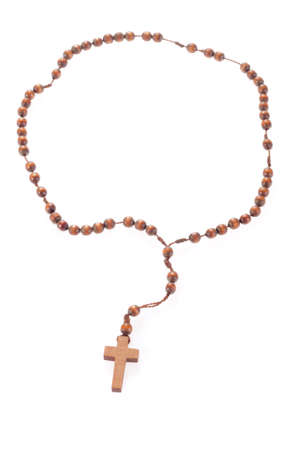 Wooden rosary beads, isolated on the white