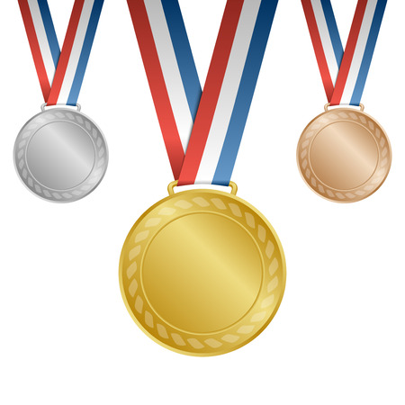 Gold silver bronze blank award medals with ribbons: Royalty