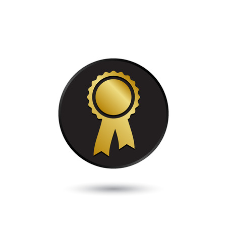 Simple gold on black rosette with ribbon icon logo: Royalty