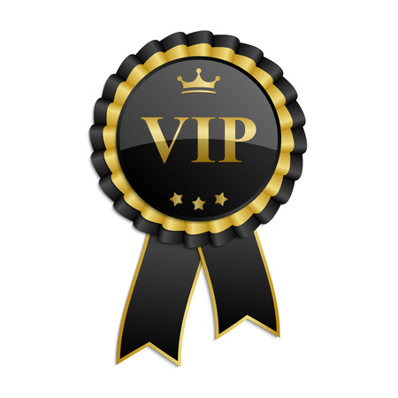Black and gold Vip rosette with ribbon