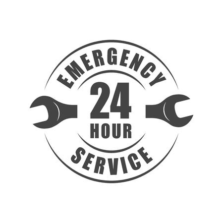 Ilustración de 24 hour emergency service logo with wrench silhouette - Imagen libre de derechos