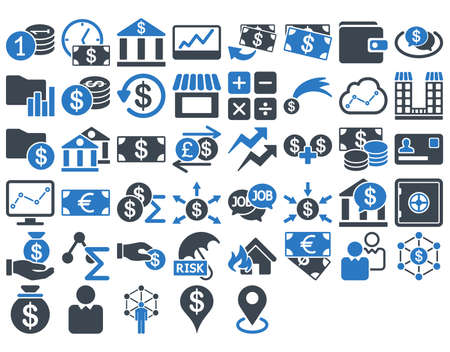 Business Icon Set. These flat bicolor icons use smooth blue colors. Vector images are isolated on a white background.
