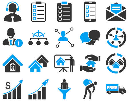 Business, sales, real estate icon set. These flat bicolor symbols use modern corporate light blue and gray colors. Images are isolated on a white background. Angles are rounded.のイラスト素材