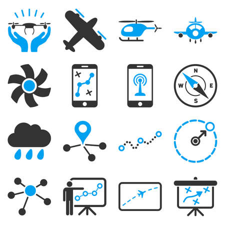 Aircraft navigation icon set designed with blue and gray colors. These flat bicolor pictograms are isolated on a white background.のイラスト素材