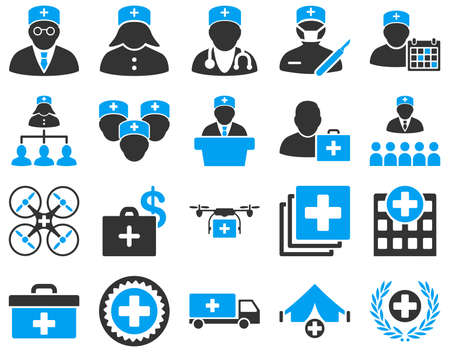 Medical icon set. These flat bicolor icons are drawn with blue and gray colors on a white background.のイラスト素材