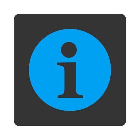 Information icon from Primitive Buttons OverColor Set. This rounded square flat button is drawn with blue and gray colors on a white background.