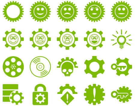 Tools and Smile Gears Icons. Glyph set style is flat images, eco green color, isolated on a white background.