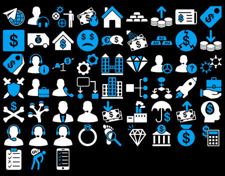 Commerce Icon Set. These flat bicolor icons use blue and white colors. Glyph images are isolated on a black background.