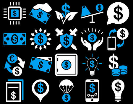 Dollar Icon Set. These flat bicolor icons use blue and white colors. Vector images are isolated on a black background.