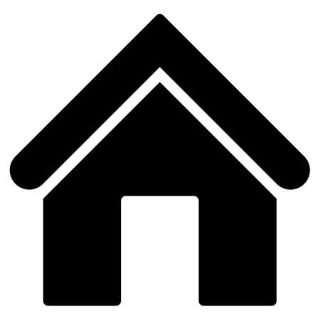 Ilustración de Home icon from Primitive Set. This isolated flat symbol is drawn with black color on a white background, angles are rounded. - Imagen libre de derechos