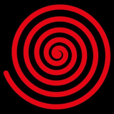 Hypnosis raster icon. Style is flat symbol, red color, rounded angles, black background.