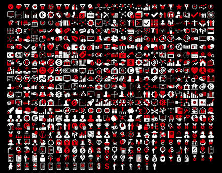 Application Toolbar Icons. 576 flat bicolor icons use red and white colors. Glyph images are isolated on a black background.