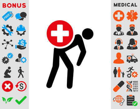 Medication Courier raster icon. Style is bicolor flat symbol, intensive red and black colors, rounded angles, white background.