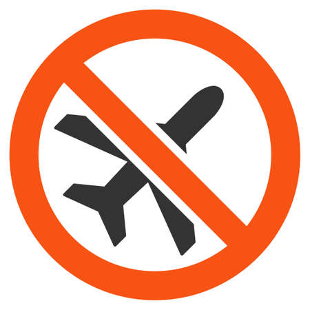 Forbidden Airplane vector icon. Style is flat symbol, rounded angles, white background.