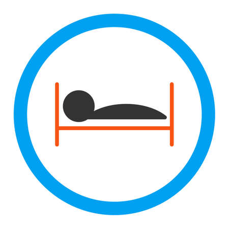 Patient Bed glyph icon. Style is flat rounded symbol, bright colors, rounded angles, white background.