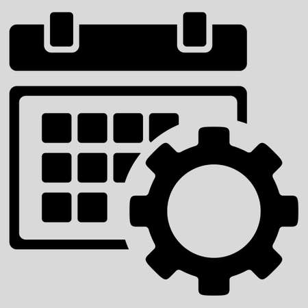 Schedule Preferences glyph icon. Style is flat symbol, black color, rounded angles, light gray background.