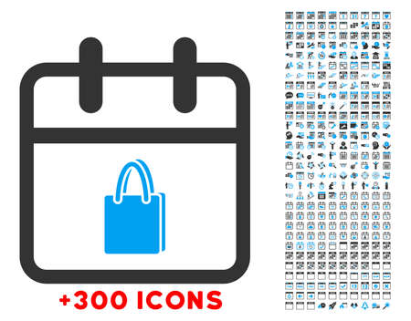 Shopping Date glyph icon with additional 300 date and time management pictograms. Style is bicolor flat symbols, blue and gray colors, rounded angles, white background.