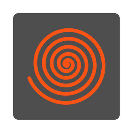 Hypnosis vector icon. Style is flat rounded square silver button with red symbol, white background.