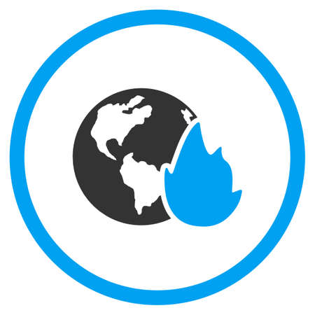 Planet Flame glyph icon. Style is bicolor flat circled symbol, blue and gray colors, rounded angles, white background.
