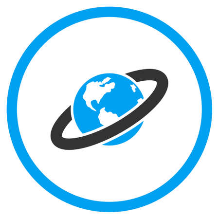 Ringed Planet glyph icon. Style is bicolor flat circled symbol, blue and gray colors, rounded angles, white background.