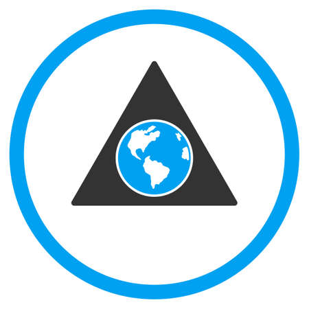 Terra Triangle vector icon. Style is bicolor flat circled symbol, blue and gray colors, rounded angles, white background.