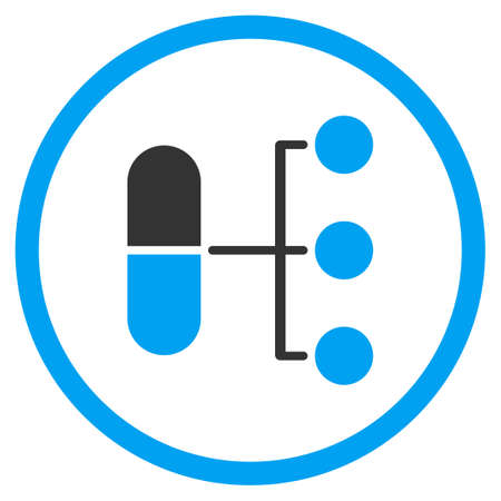 Illustration pour Pharmacy Distribution vector icon. Style is bicolor flat circled symbol, blue and gray colors, rounded angles, white background. - image libre de droit