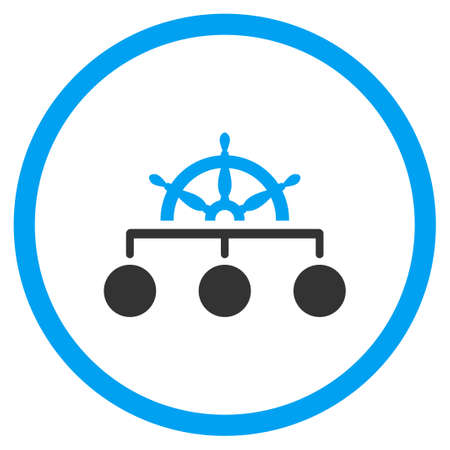 Rule vector icon. Style is bicolor flat circled symbol, blue and gray colors, rounded angles, white background.
